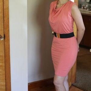 Salmon peach cowl neck bodycon sleeveless Dress